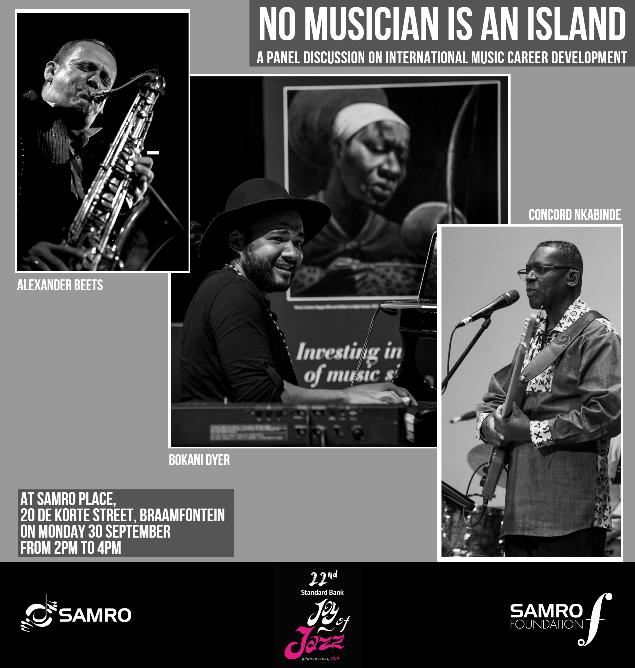 No Musician is an Island: A panel discussion featuring Alexander Beets, Bokani Dyer and Concord Nkabinde